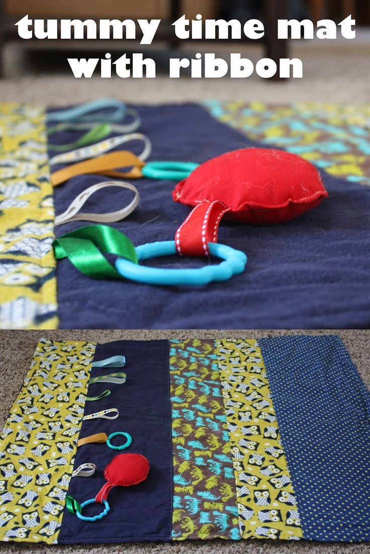 Fisher's Mommy: Tummy Time Mat Tutorials. Use ribbon to attach toys to or to leave like a taggies blanket.