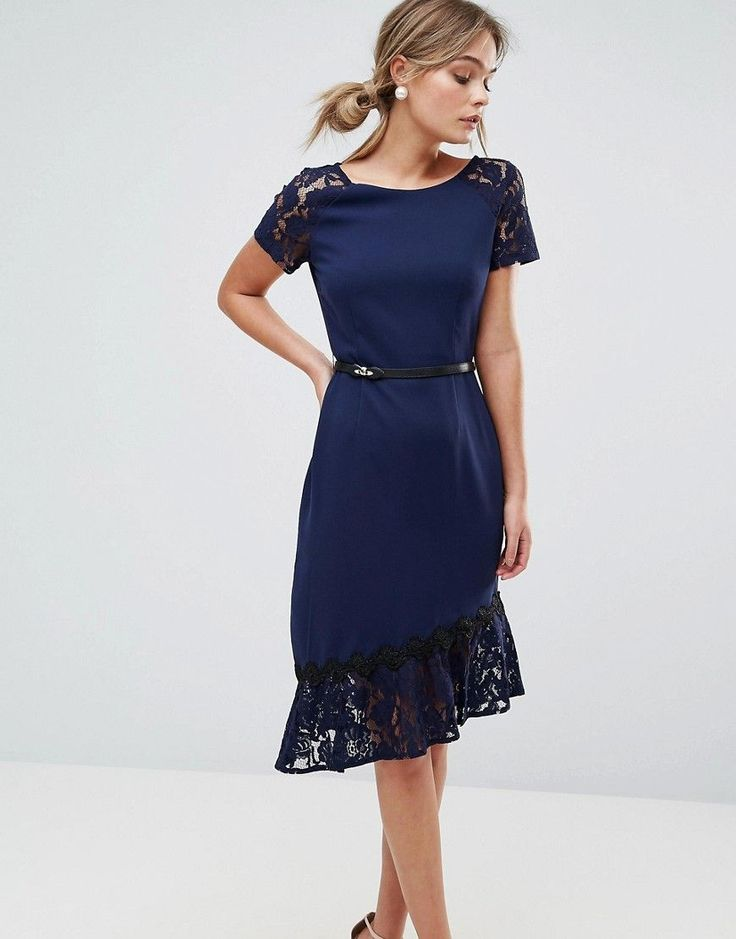 Paper Dolls Short Sleeve Lace Dress with Crochet Trim - Navy