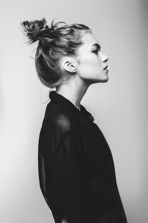 I wish when I tossed my locks off my sweaty neck into a messy top knot that it looked this chic.