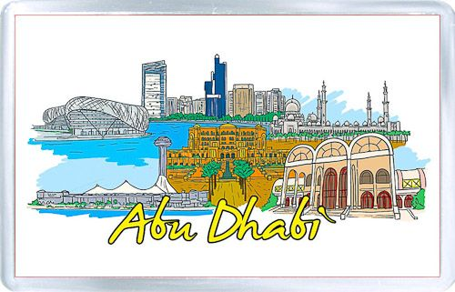 Acrylic Fridge Magnet: United Arab Emirates. Abu Dhabi