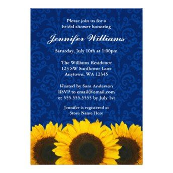 Sunflower Blue Damask Bridal Shower Invitation Cards. A country themed bridal shower invitation featuring yellow sunflowers on an elegant navy blue damask background. Perfect for a western bridal shower, country bridal shower, outdoor bridal shower and more!