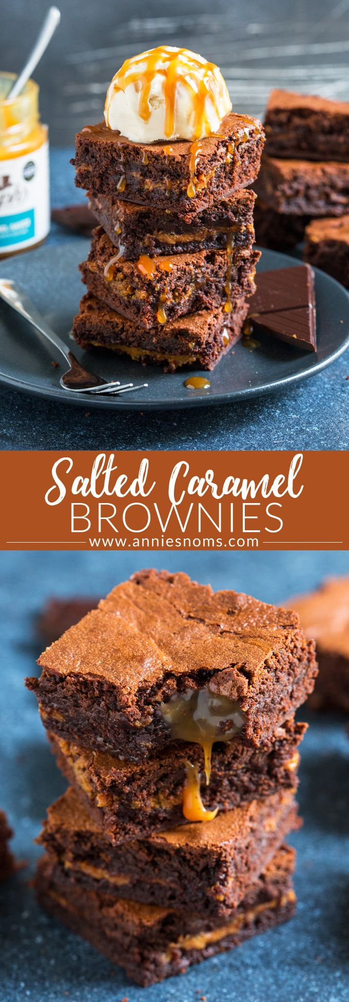 What could make rich and fudgy brownies better? A layer of salted caramel of course! These Salted Caramel Brownies are the stuff of dreams! #saltedcaramel #brownies #dessert