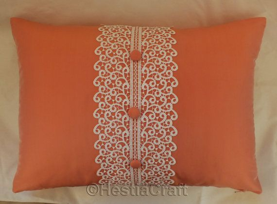 Decorative pillow natural silk pillow, oblong soft orange pillow, Accent Pillow with Lace & Buttons Homemade pillow cases, Bedding Pillows