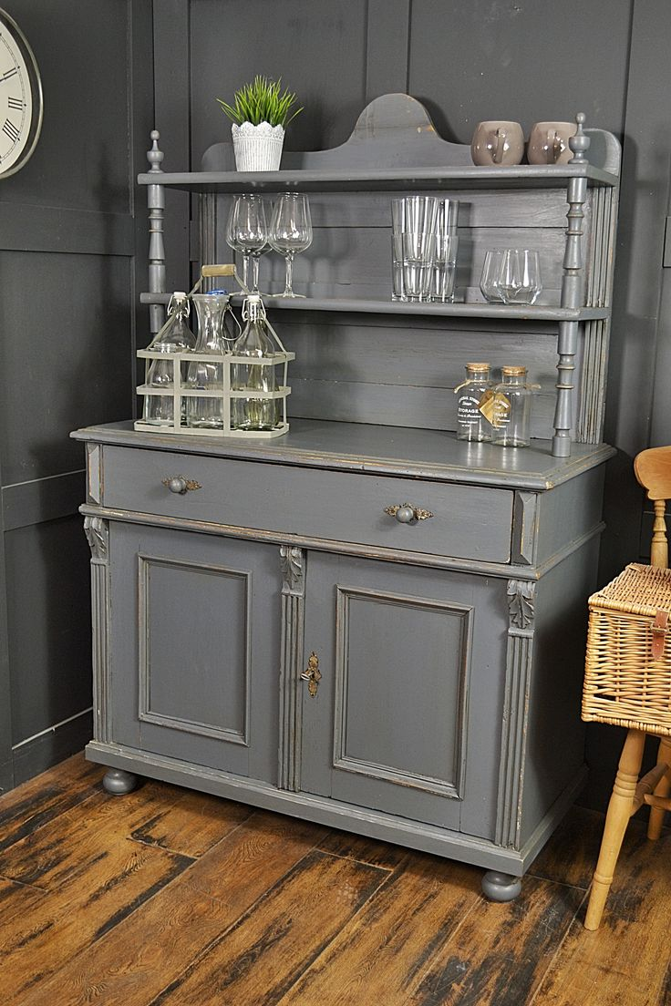 This Adorable Grey Kitchen Cupboard Has Been Lightly Distressed With The Inner Drawer In Farrow