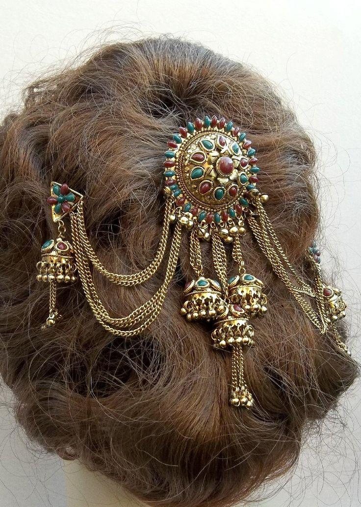 Vintage hair comb Indian Bollywood hair accessory hairpin headpiece (AAI). $29.00, via Etsy.