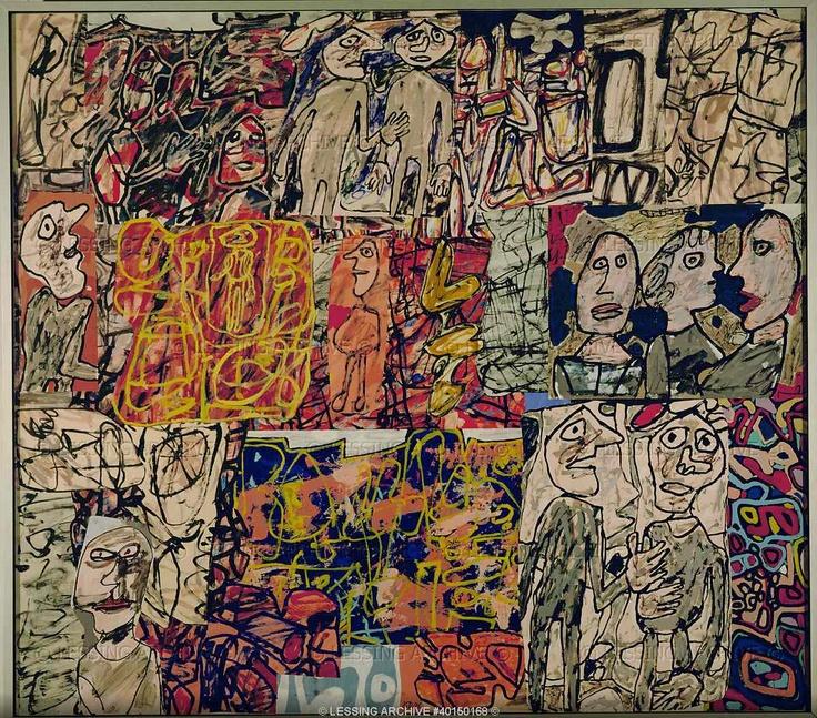 Jean Dubuffet,  People. Oil on canvas  Museum Moderner Kunst, Vienna, Austria