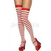 Red and White Striped Over the Knee Stockings