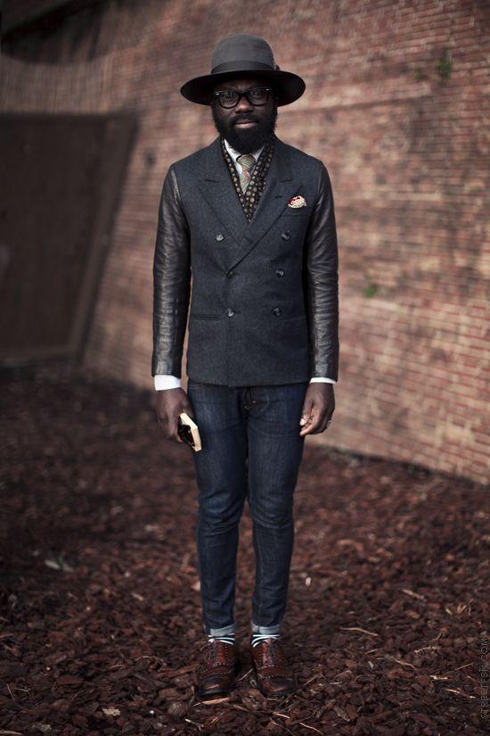 designer for Ozwald Boateng: Street Fashion, Samlambert, Leather Sleeve, My Boys, Street Style, Men Style, Men Fashion, Men'S Fashion, Sam Lambert