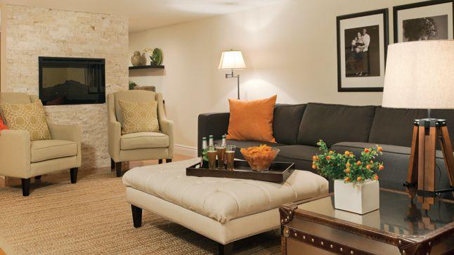 3 styles, 3 sous-sols | Les idées de ma maison Crédit photo: François Laliberté #deco #sousol #canape #accessoires #table #foyer