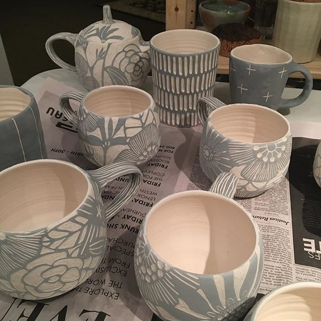 #pottery#clay#glazing getting ready to glaze these big mugs!