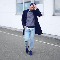 Mali Karakurt - Asos Beanie, H&M Sweater, Eton Shirt, Zara Coat, H&M Jeans, Adidas Shoes - SHADES OF BLUE