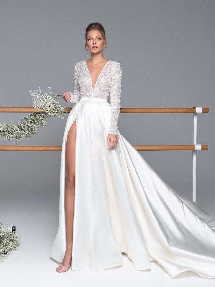 V-Ausschnitt bodenlangen langen Ärmeln Hall Brautkleid –
