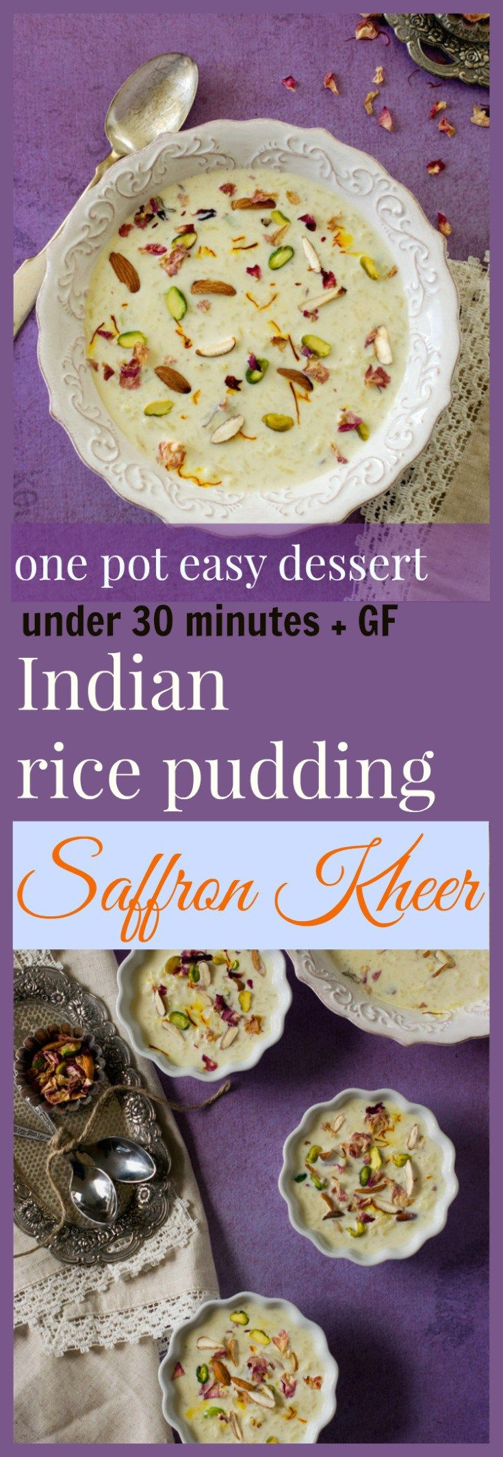 Saffron rice kheer - Indian rice pudding - one pot dessert recipe makes an easy Indian dessert/ sweet option for every special occasion. It's gluten free . #festive #indiandessert #comfortfood (Indian Sweet Recipes)