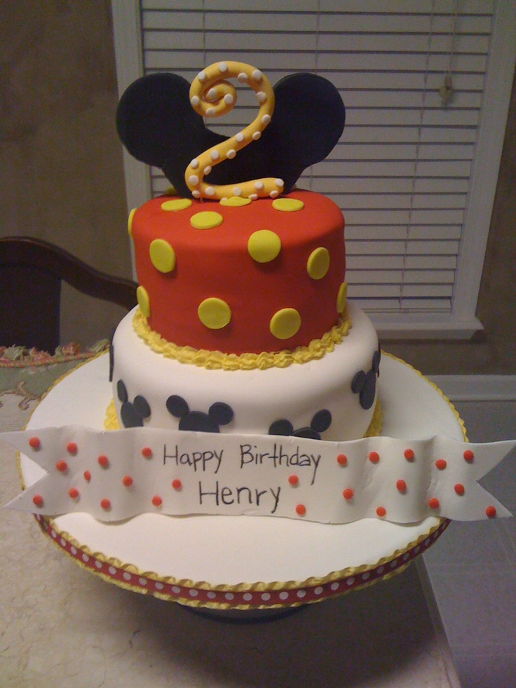 Mickey Mouse Cake.  Something like this would be perfect for Rhys' birthday cake!