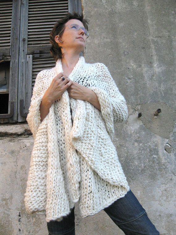 En venta OOAK mano tejidos cachemir chal color crema