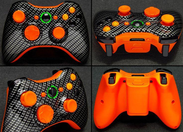 NEW XBox 360 Black & Orange Carbon Fiber Wireless Remote Gamepad Game Controller #Microsoft