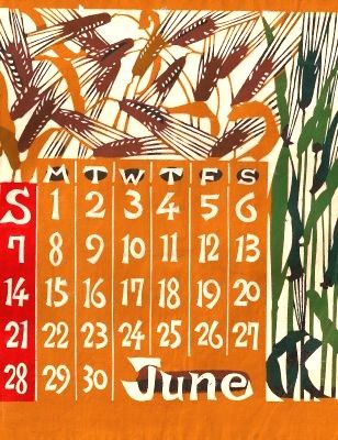 vintage katazome calendar designed by Keisuke Serizawa (1895-1984).
