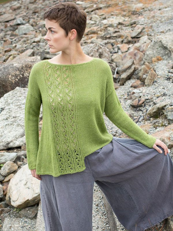 Iwi is an over-sized pullover with a quirky asymmetric hem and lace panel.  Stitch pattern has both charted and written instructions.
