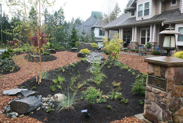 Lush rain garden in front yard with brown mulch, plants