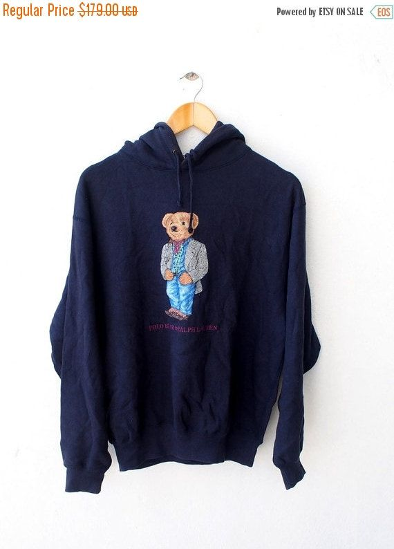 Vintage 90\u0027s POLO Ralph Lauren Usa Bear Casual Wear Blue Hoodie Sweater  Sweatshirt Jacket Size M Hip Hop