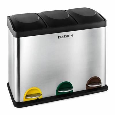Klarstein Ökosystem - Poubelle de cuisine à pédale en acier inox avec 3 compartiments de 15L pour le tri selectif