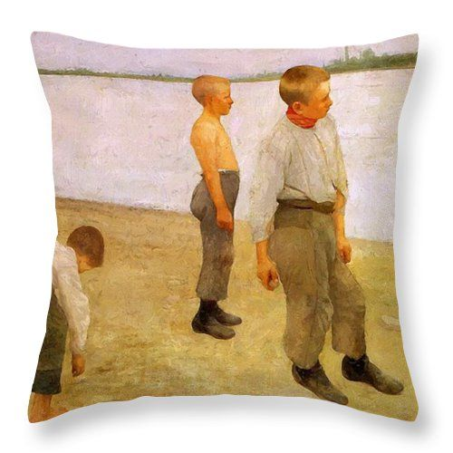 Boys Throw Pillow featuring the painting Boys Throwing Pebbles Into The River 1890 by Ferenczy Karoly