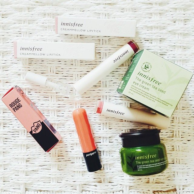 ♥ Innisfree Creammellow Lipstick #3 ♥ Innisfree Creammellow Lipstick #9 ♥ Peripera Rouge Pang #OR06 ♥ Etude House Color-lips Fit #WH901 [mini size] ♥ Innisfree The Green Te Seed Eye Cream  #makeup #lipstick #eyecream #innisfree #peripera #etudehouse