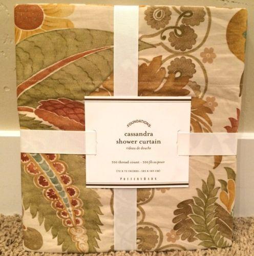 Pottery Barn Cassandra Floral Shower Curtain New Bath Free