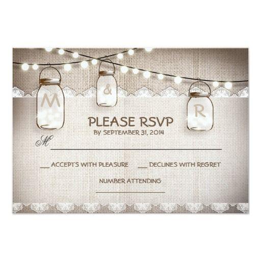 Burlap Lace Lights Mason Jar Wedding RSVP Card