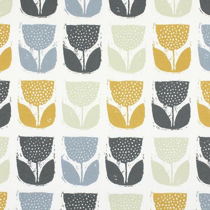 Warwick Fabrics : POPPY POD, Colour SAFFRON