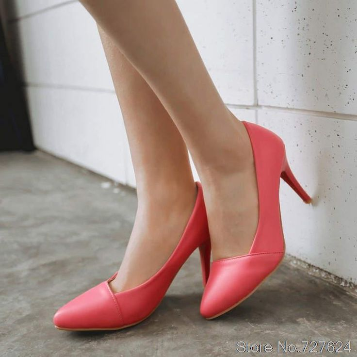 Pumps Shoes Woman PU New  high heel 8.5CM Thin Heels Women's shoes with heels small yards EUR Size 33-43 G