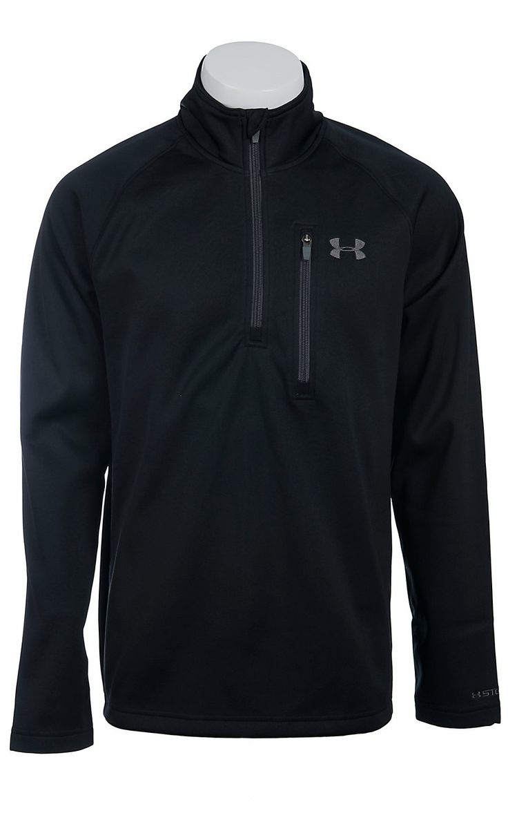 Under armour cold gear men 39 s black solid quarter zip for Under armour cold gear shirt mens