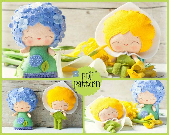 PDF Pattern. The Hydrangea and the Arum lily. Plush by Noialand, $7.00