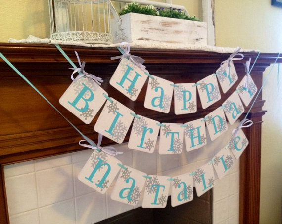 Frozen Birthday Banner HAPPY BIRTHDAY Frozen Birthday party Decoration Birthday sign photo prop - CUSTOMIZE First Name and Colors