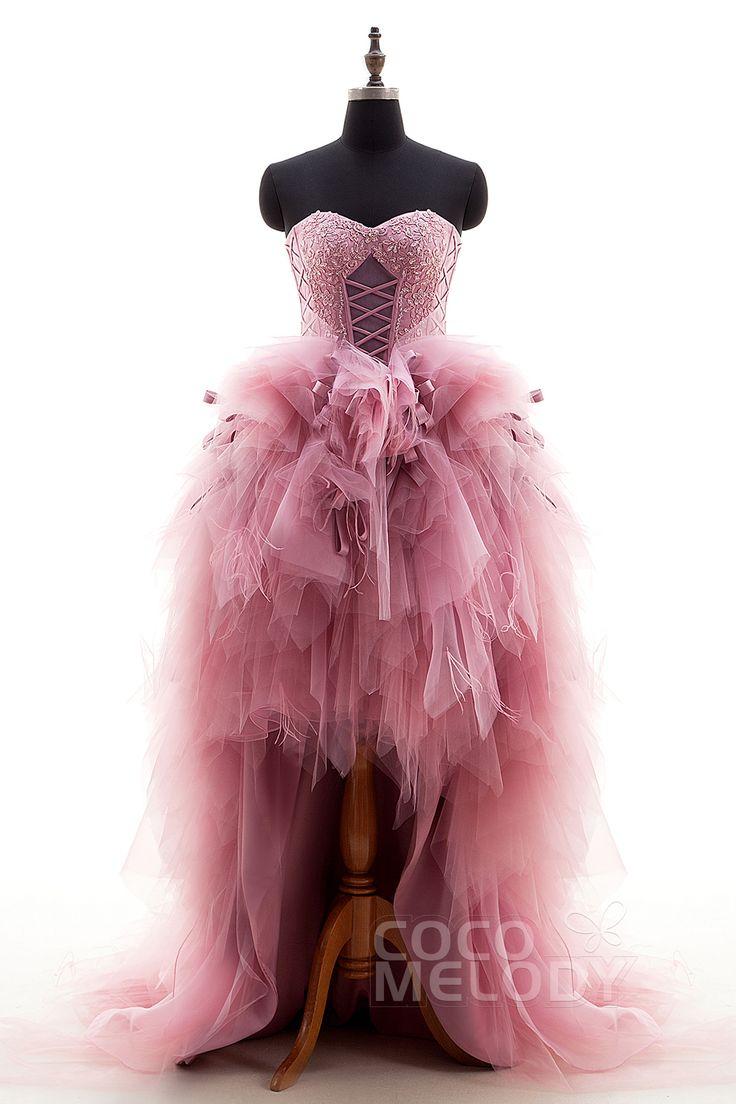 新風 アシンメトリー ハートネック チュール 淡いピンク レース 編み上げ式 リボン付き ウエディングドレス アップリケ 羽毛ドレス キャザー LD0845