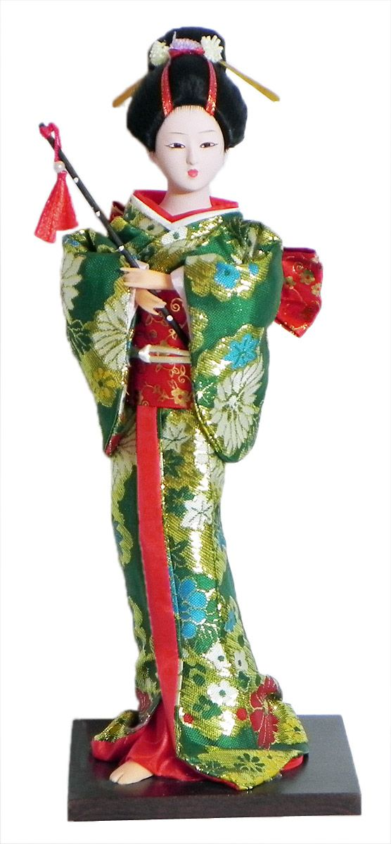 Japanese Geisha Doll in Green with Weaved Golden Design Kimono Dress Holding Flute (Cloth, Clay, Plastic and Thermocol)