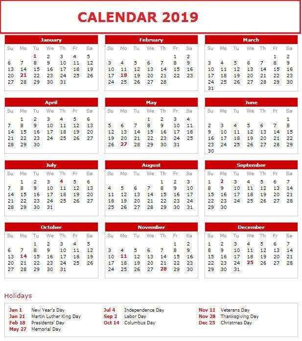 2019 Holiday Calendar Calendar2019 Printablecalendar Holidays2019