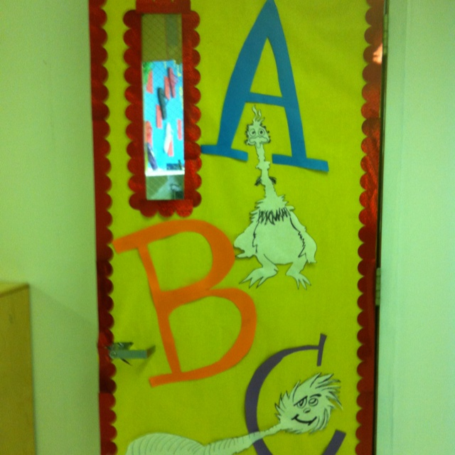 My Dr. Seuss ABC book door... Would make a cute bulletin board or wall decor as well.