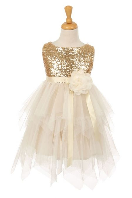 Gold+Sequin+Bodice+Flower+Girl+Dress+with+Double+Layered+Mesh+Skirt+KK-6370-GD+on+www.GirlsDressLine.Com