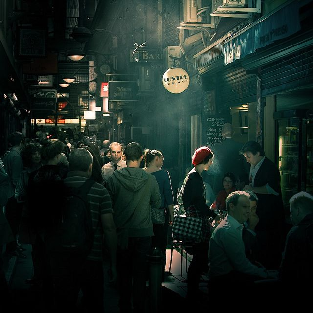 This is such a fabulous pic of one of our favourite lanes, its not often a picture so dark shares the atmosphere as we know it!  Center Place off Flinders Lane, in Melbourne Australia. Photograph by Andrew/Cuba Gallery