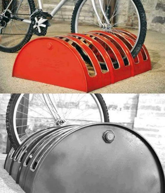 Upcycle metal barrel to a bicycle stands!