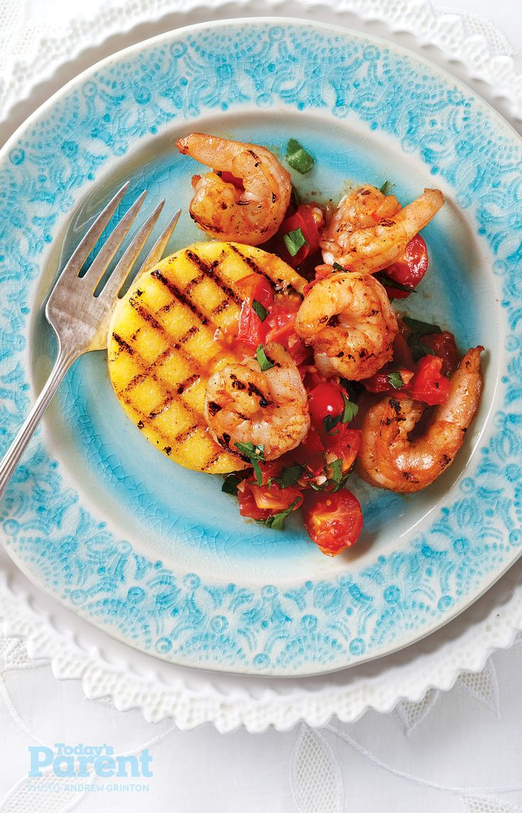 Grilled Polenta Cakes with Shrimp and Tomatoes #SeafoodRecipe # ...