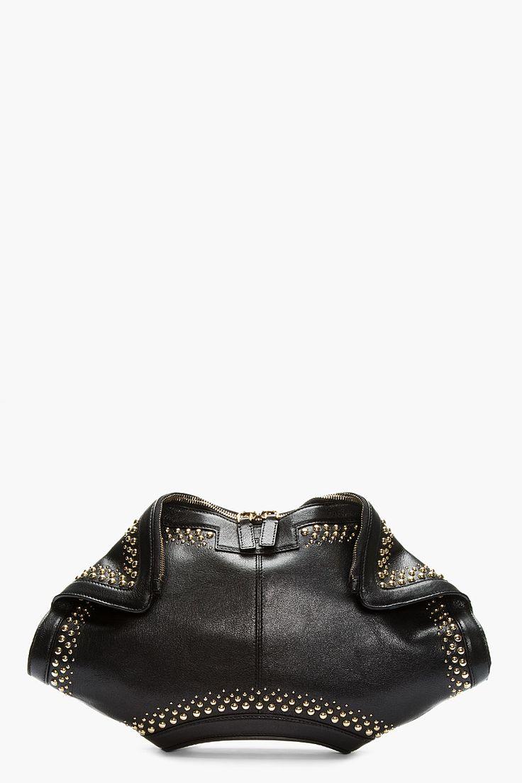 ALEXANDER MCQUEEN Black Leather Studded De Manta City Clutch