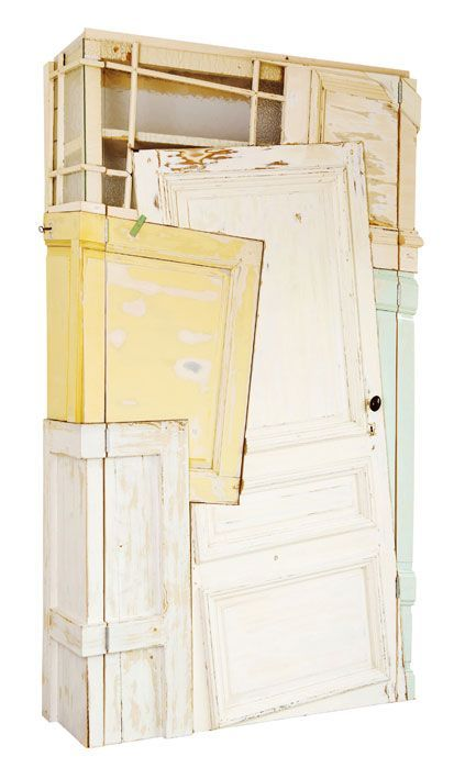 Dutch artist Chris Ruhe designs and builds furniture using reclaimed building materials set at radical angles. Whether it's a cabinet unit made from old doors, or shelves made from discarded ladders, Ruhe's divergent style comes out in his work. [via Recyclart] #furniturerecicled