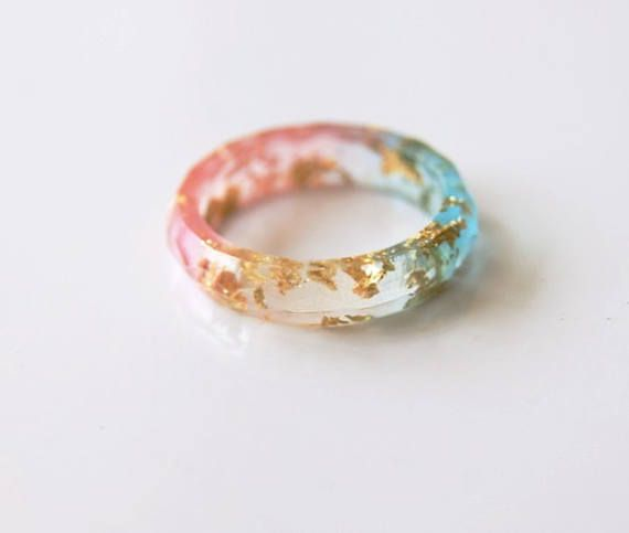 Pink Blue thin ring Resin ring Faceted resin ring Eco resin