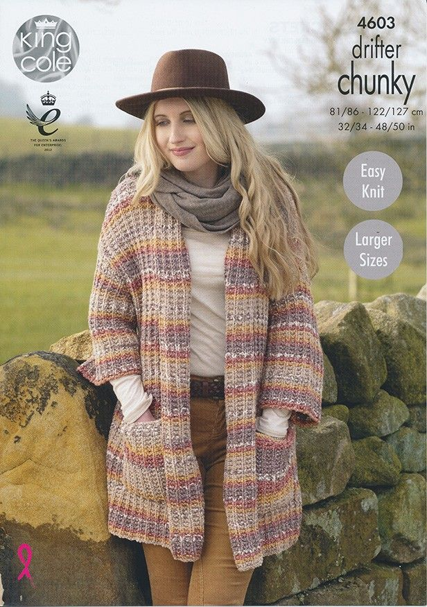 92da1541a28612 ... Hat with simple Eyelet pattern Knitting  Ladies Jackets in King Cole  Drifter Chunky (4603) Womens Knitting Patterns Knitting release info ...