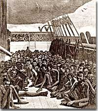"""""""Packing"""" slave ships for the Middle Passage"""