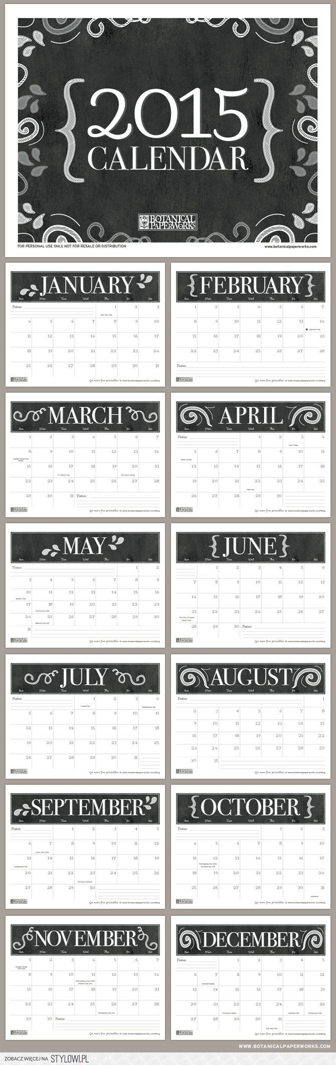 55 best free printable • calendar 2014-15 images on Pinterest | Free ...