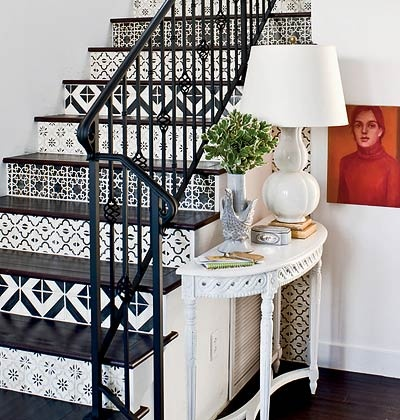 tile or paint or wall paper or mural on the stair riser............wille wood work