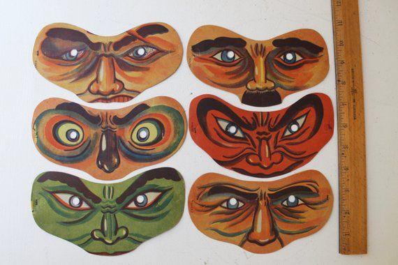 Vintage Lot Of 6 Paper Halloween Masks Vintage Paper Etsy In 2020 Halloween Paper Halloween Masks 1920s Halloween